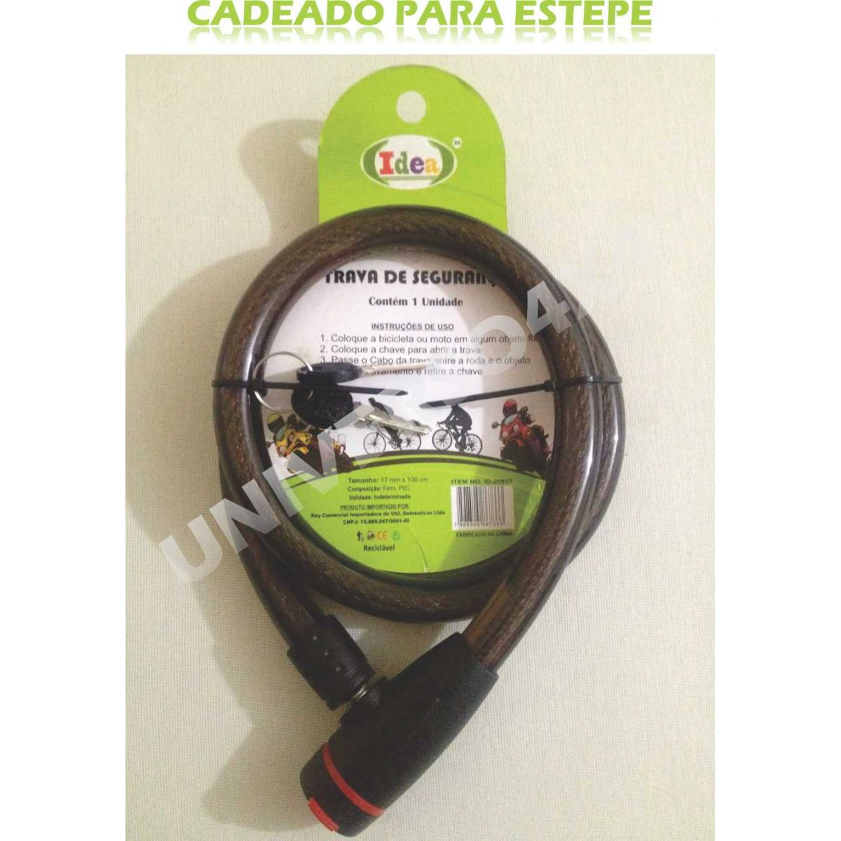 Trava Antifurto Cadeado Estepe 1,0mx17mm - Fumê Idea