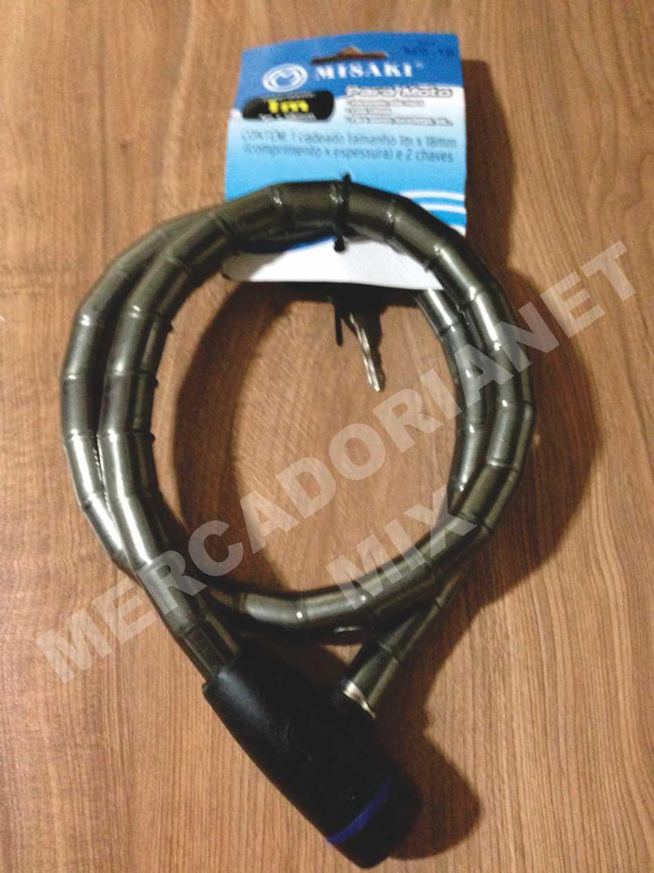 Trava Antifurto Cadeado Estepe 1 m x 18 mm Fumê MS18