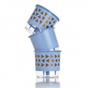 Kit 3 Vasos Autoirrigáveis GEOMÉTRICOS Azul Serenity MÉDIO