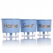 Kit 3 Vasos Autoirrigáveis Home Sweet Home Azul Serenity MÉDIO