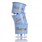 Kit 3 Vasos Autoirrigáveis Home Sweet Home Azul Serenity PEQUENO