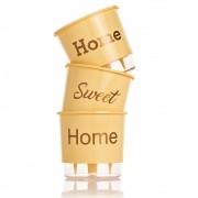 Kit 3 Vasos Autoirrigáveis Home Sweet Home Pêssego PEQUENO