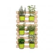 Kit Horta Vertical Verde com 6 Vasos Autoirrigáveis com Suporte + Treliça Madeira 100cm x 60cm