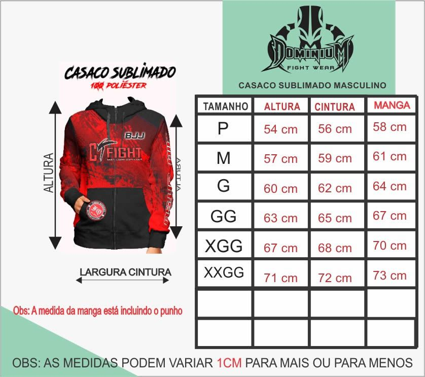 Agasalho Casaco Moleton - Muay Thai - Sublimado - Masculino - Dominium -  - Loja do Competidor
