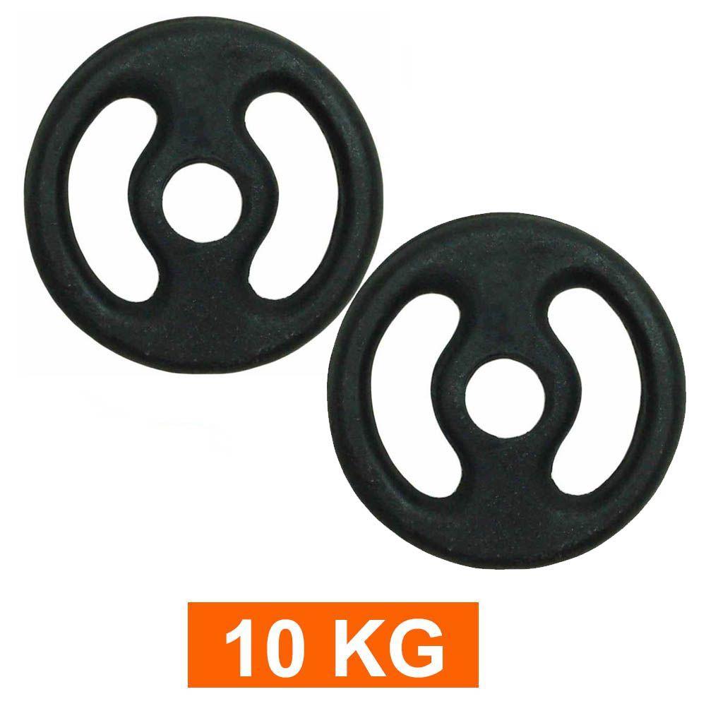 Anilha para Barra Musculação Treino Funcional - 10 Kg - Pintada - Par- Pentagol