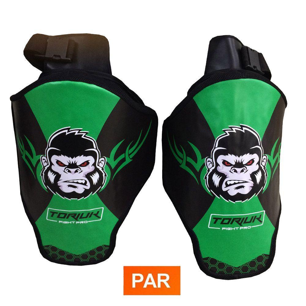 Aparador Protetor de Perna - Coxal Muay Thai - Kong - Profissional - Par  - Verde - Toriuk