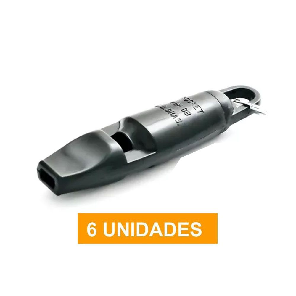 Apito de Plástico -  Rocket-  Bivox- Mesário - MM88 - 6 Unidades - Pentagol  - Loja do Competidor