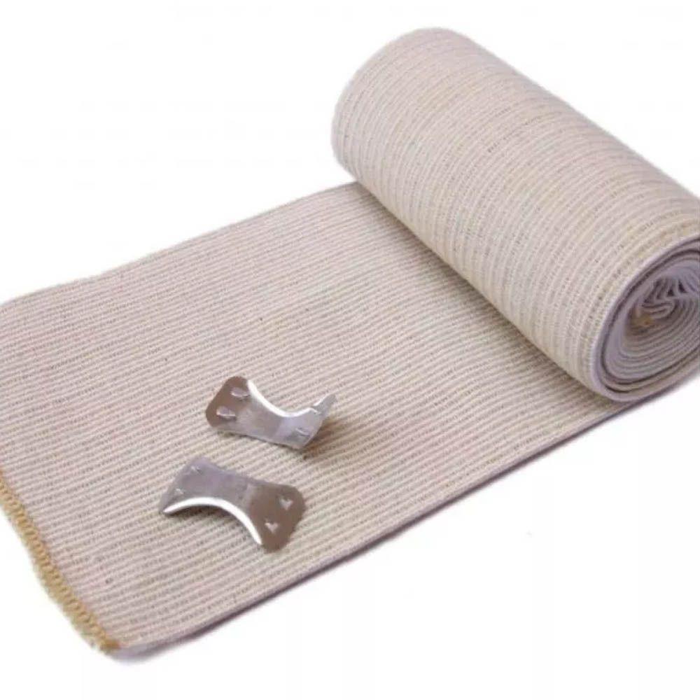 Bandagem / Atadura Elástica com Prendedores - 1,20m x 10cm - Bege - Pentagol - Unid