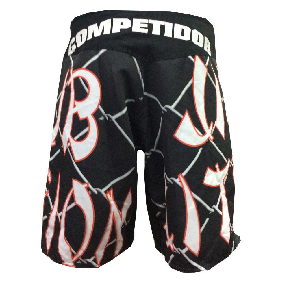 Bermuda Jiu Jitsu / MMA - Grid-  Preto/Vermelho/Branco - Duelo Fight  - Loja do Competidor