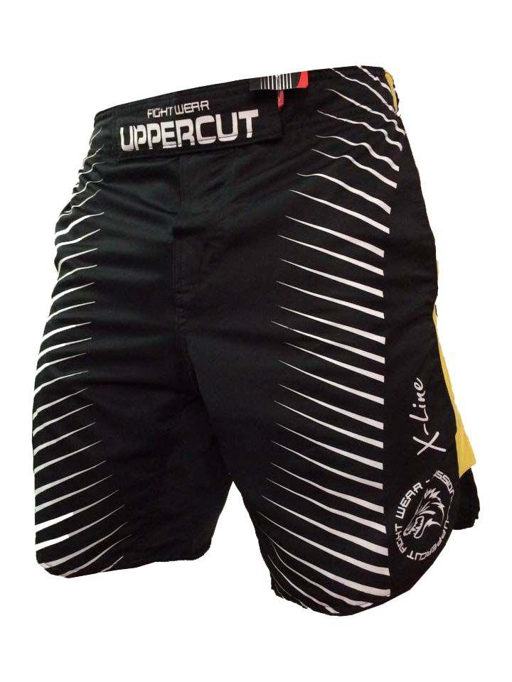 Bermuda Jiu Jitsu/MMA - X-Line II- Preto/Amarelo-  Uppercut .