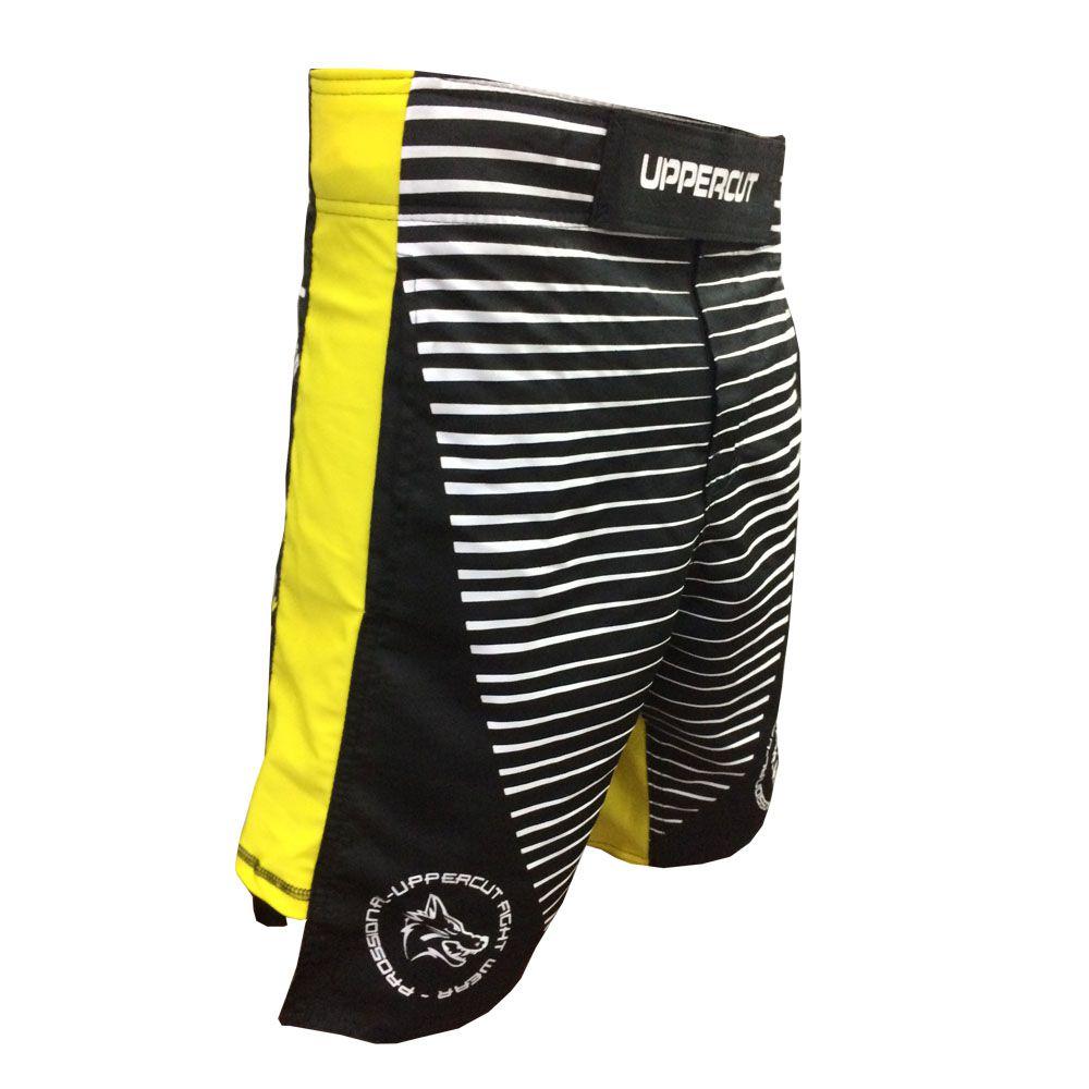 Bermuda Jiu Jitsu/MMA  X-Line II - V2- Preto/Amarelo - Uppercut -