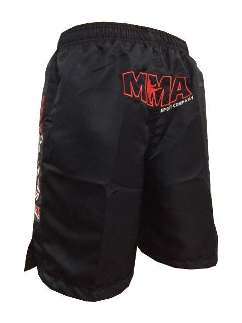 Bermuda MMA - Combat - Bordado - Preto -  - Loja do Competidor