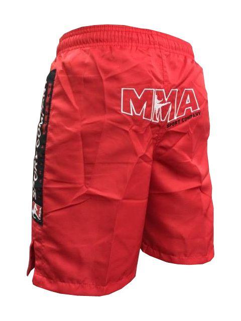 Bermuda MMA - Combat - Bordado - Vermelho  - Loja do Competidor
