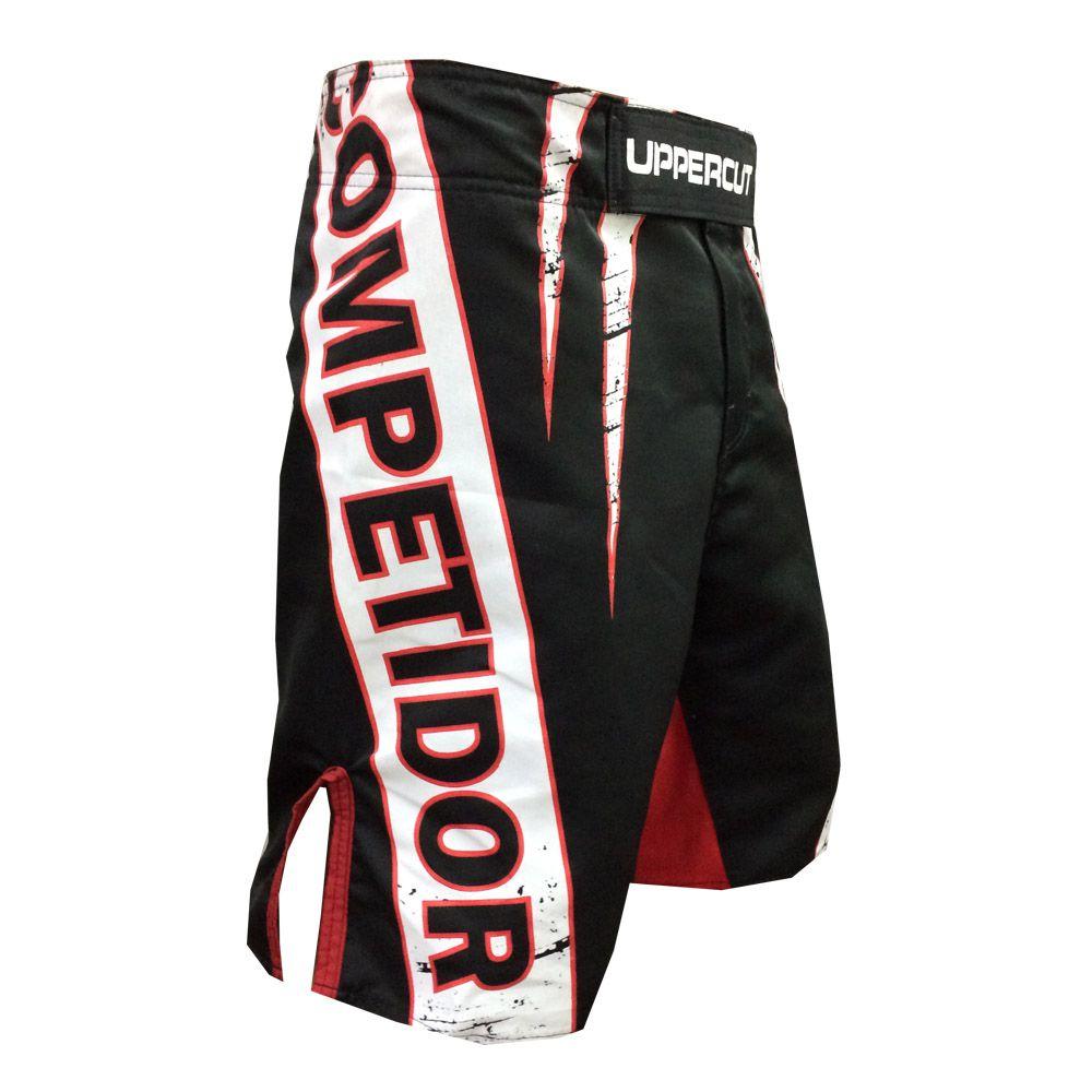 Bermuda MMA - Competidor V2- Preto/Branco/Verm - Uppercut -