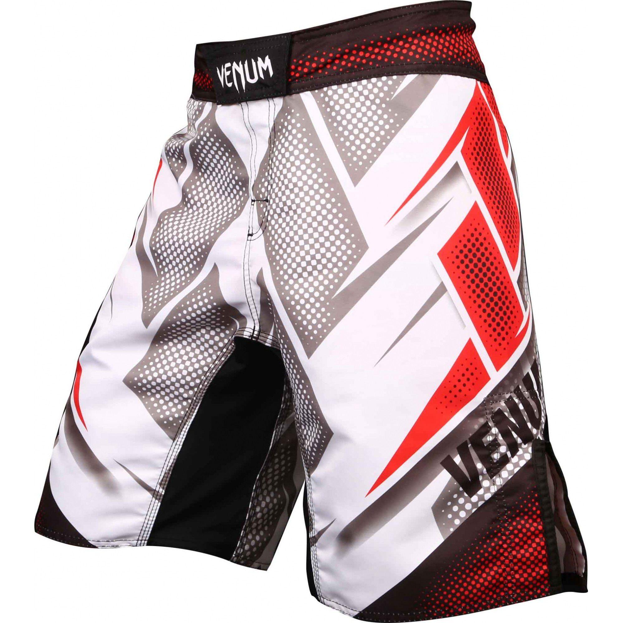Bermuda MMA - Evospeed - Branco/Vermelho- Venum  - Loja do Competidor
