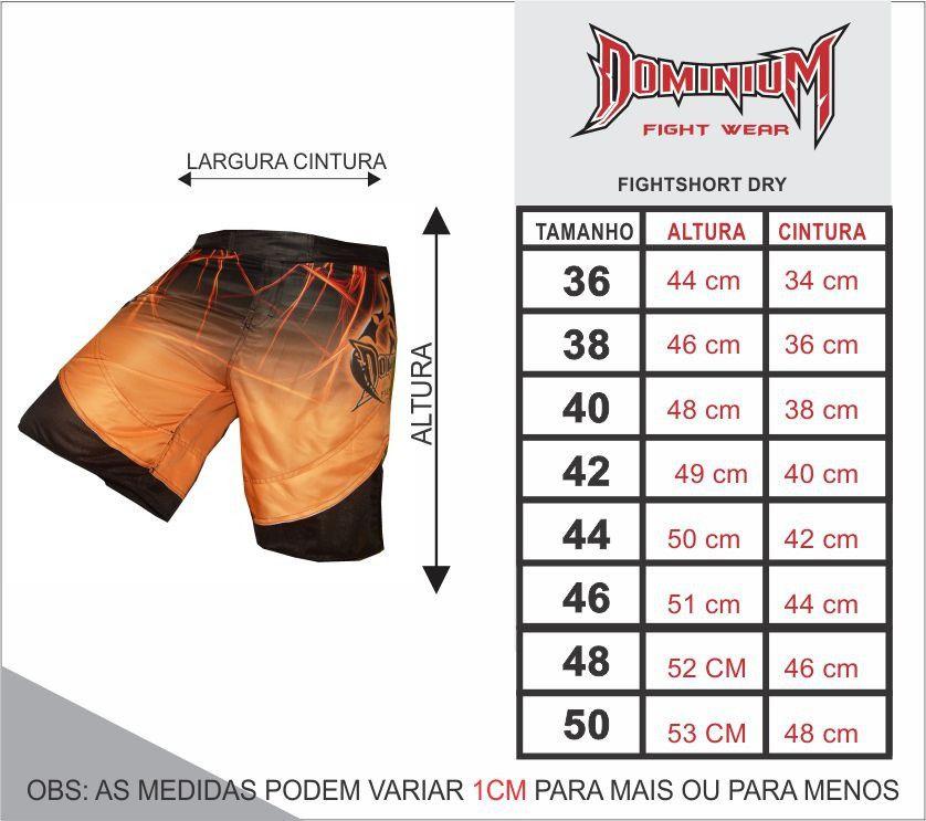 Bermuda MMA - Fightshort 2778LA - Preto/Laranja-  Dominium .  - Loja do Competidor