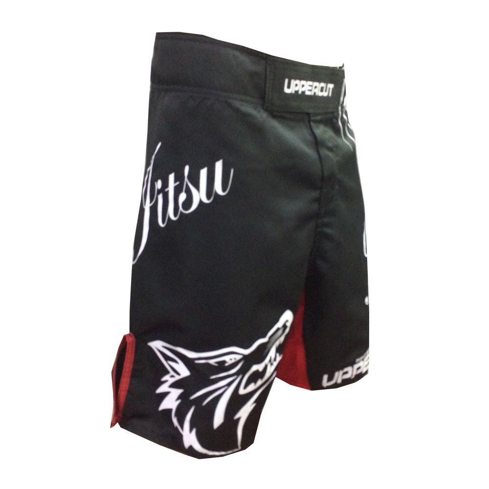 Bermuda MMA - Jiu Jitsu Trone - Preto/Vermelho - Uppercut  - Loja do Competidor
