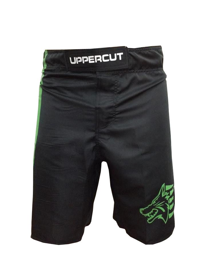 Bermuda MMA - KO Muay Thai -  Preto/Verde- Uppercut .  - Loja do Competidor