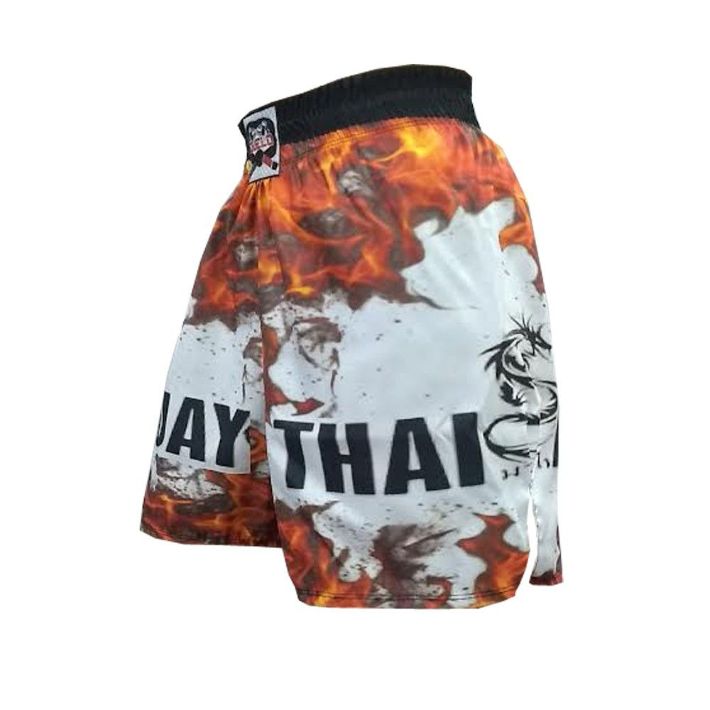 Short Calcao Muay Thai Fire -  Preto/Branco - Duelo Fight