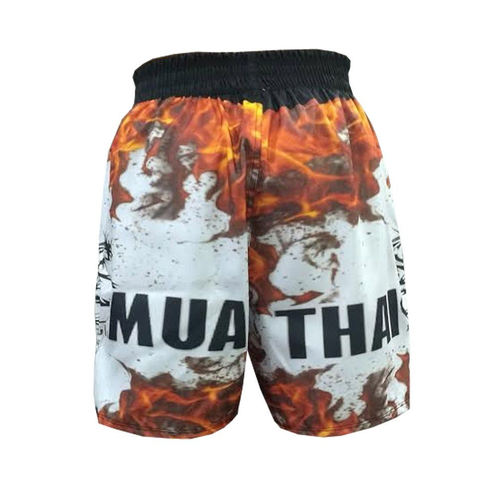 Short Calcao Muay Thai Fire -  Preto/Branco - Duelo Fight  - Loja do Competidor