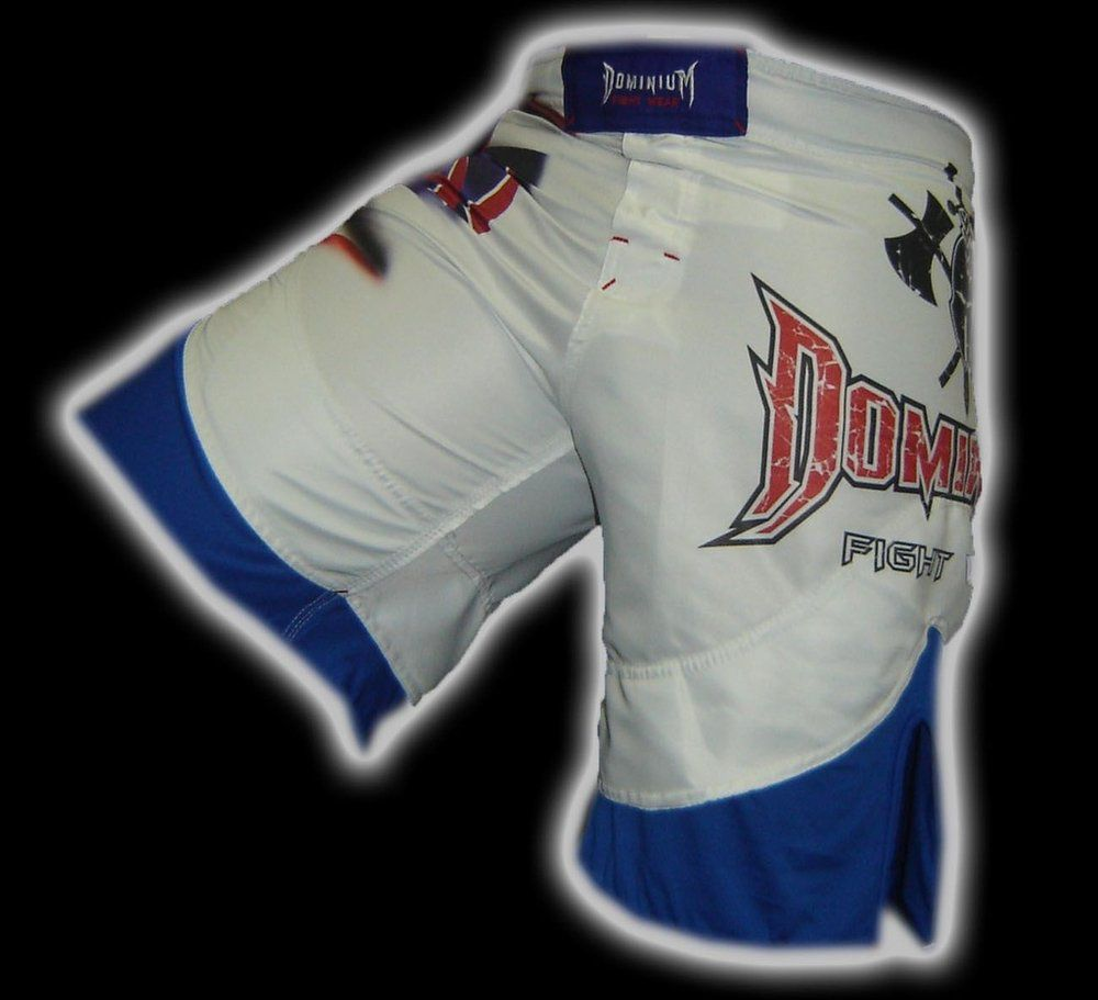 Bermuda Muay Thai MMA - Dry 1653 -  Branco/Azul -  Dominium .  - Loja do Competidor