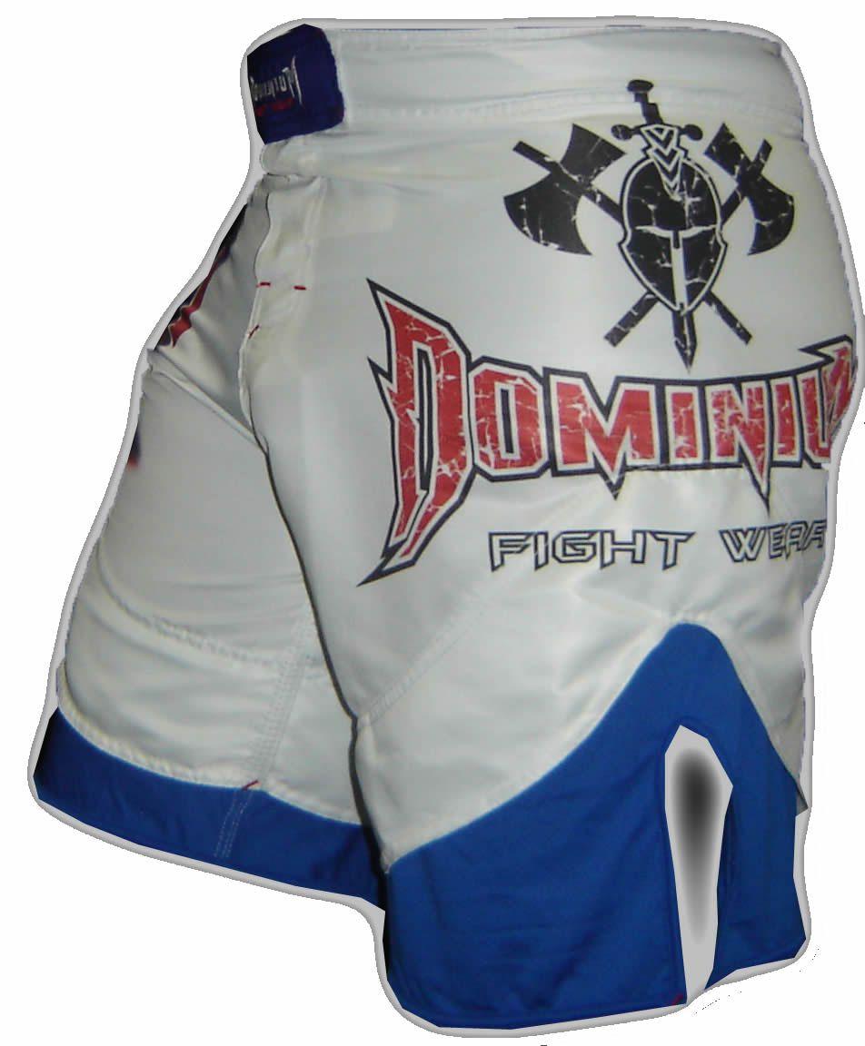 Bermuda Muay Thai MMA - Dry 1653 -  Branco/Azul -  Dominium -  - Loja do Competidor