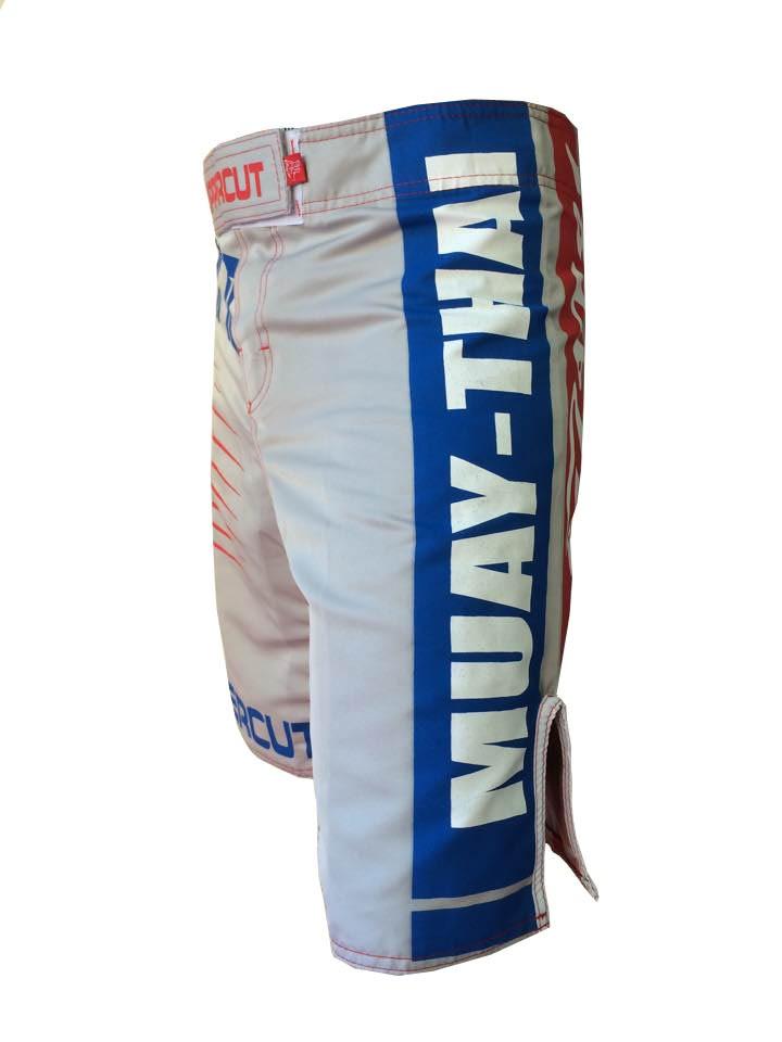 Bermuda Muay Thai - Red & Blue - Cinza - V2 - Uppercut .  - Loja do Competidor