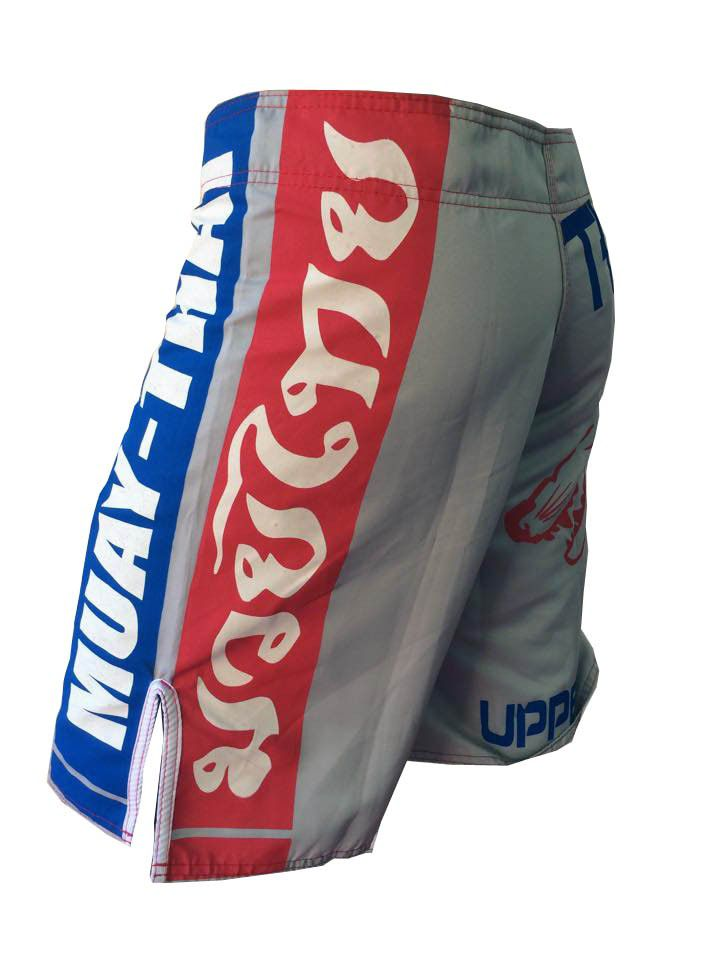 Bermuda Muay Thai - Red & Blue - Cinza - V2 - Uppercut -