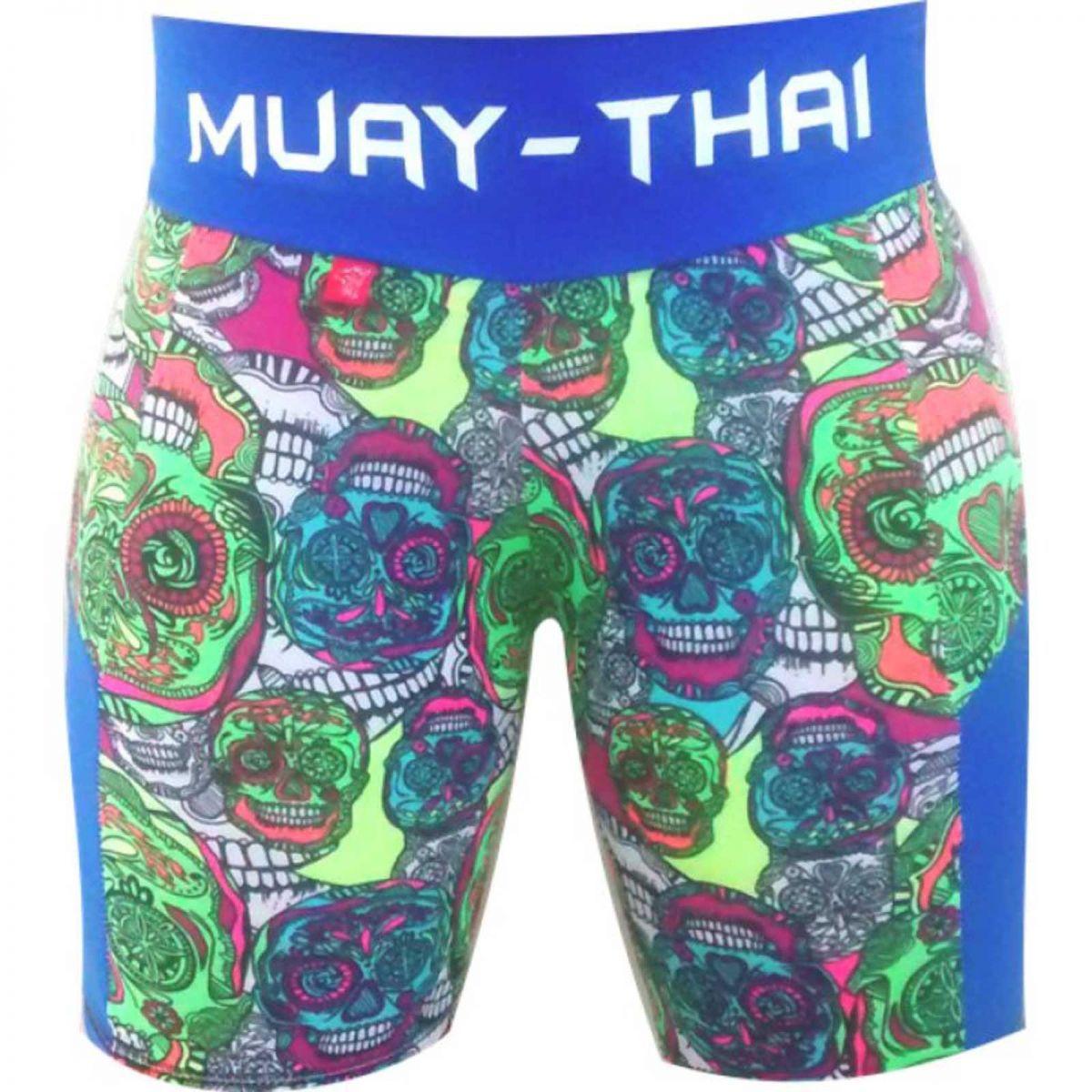 Bermuda / Short Fitness - Feminina - Caveira Muay Thai  - Azul / Verde -  Uppercut .