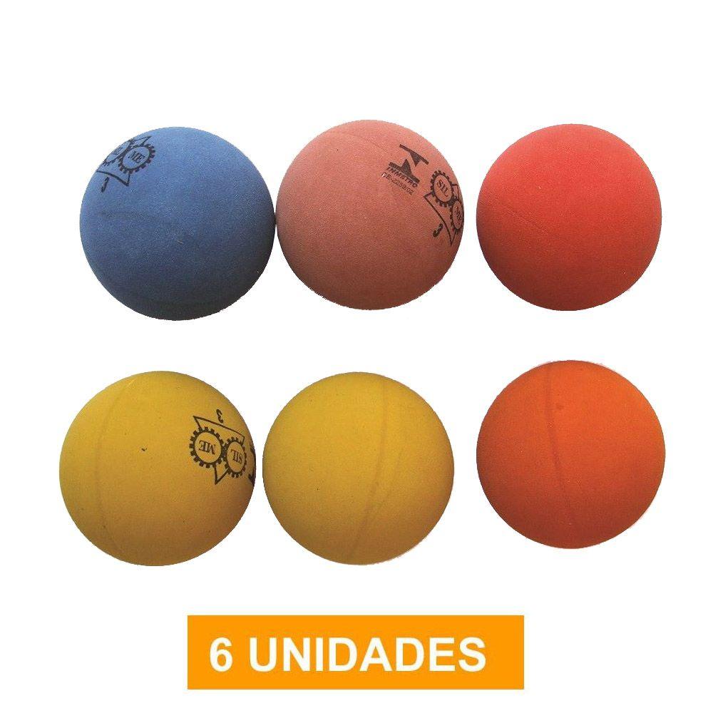 Kit de Bola de Frescobol Praia- Borracha- n3 - 6 unidades- Silme