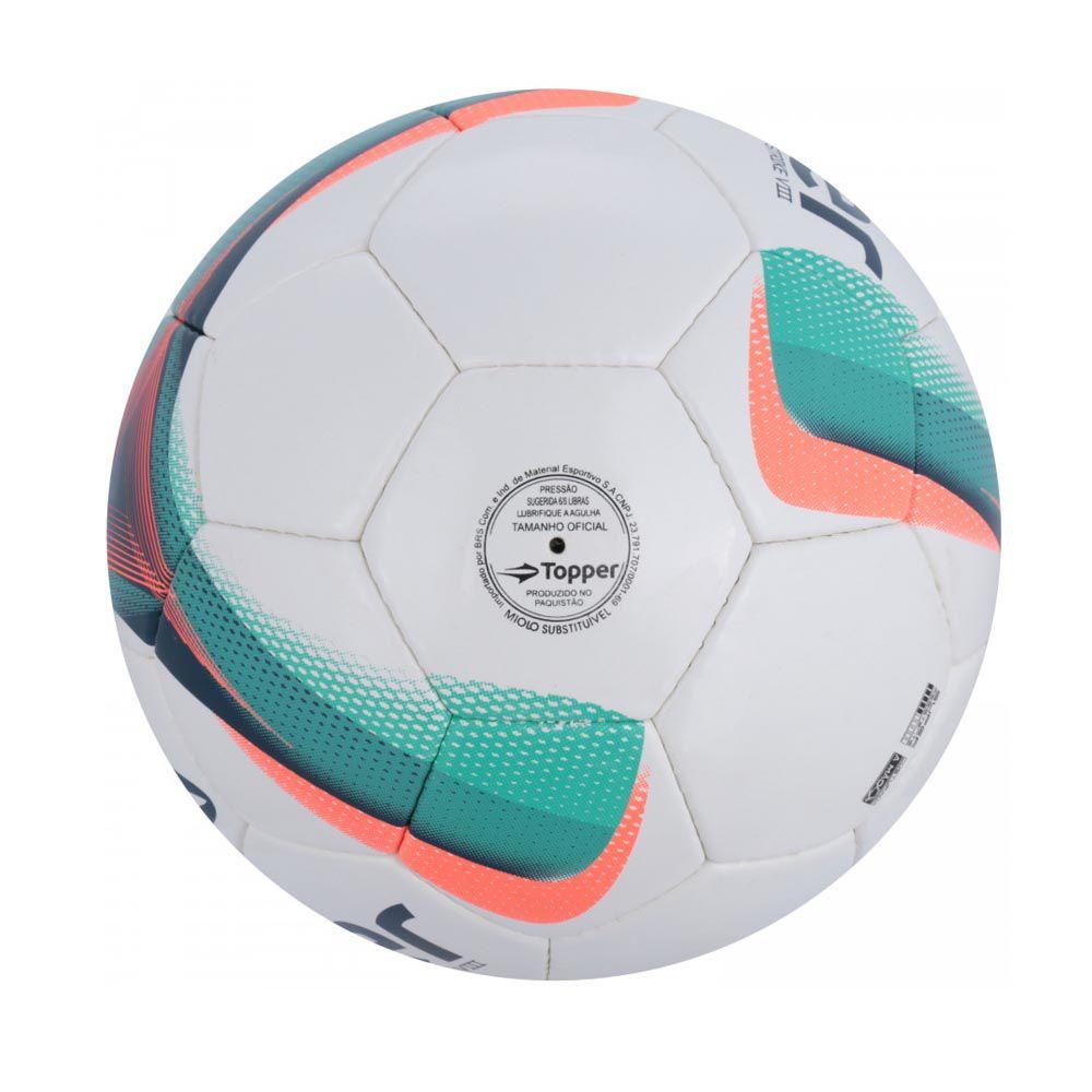 Bola de Futebol de Campo - Strike VIII - Costurado - Branco/Azul/Rosa- Topper  - Loja do Competidor