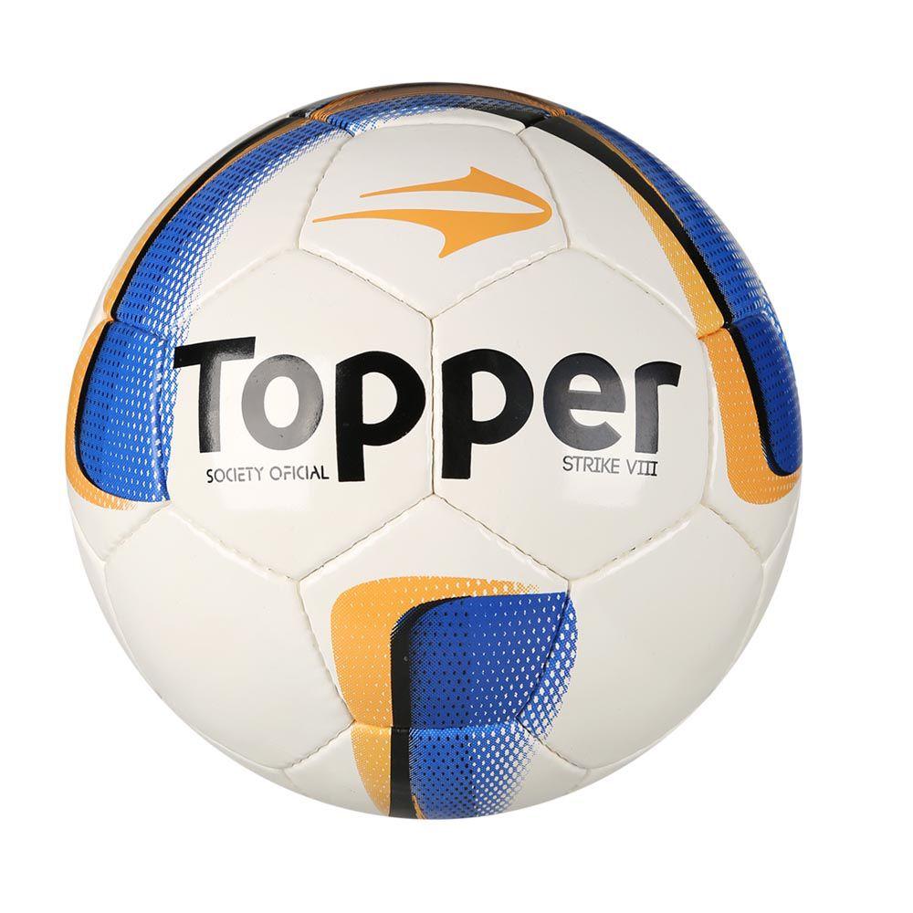 Bola de Futebol Society- Strike VIII - Branco/Azul/Laranja - Costurada - Topper
