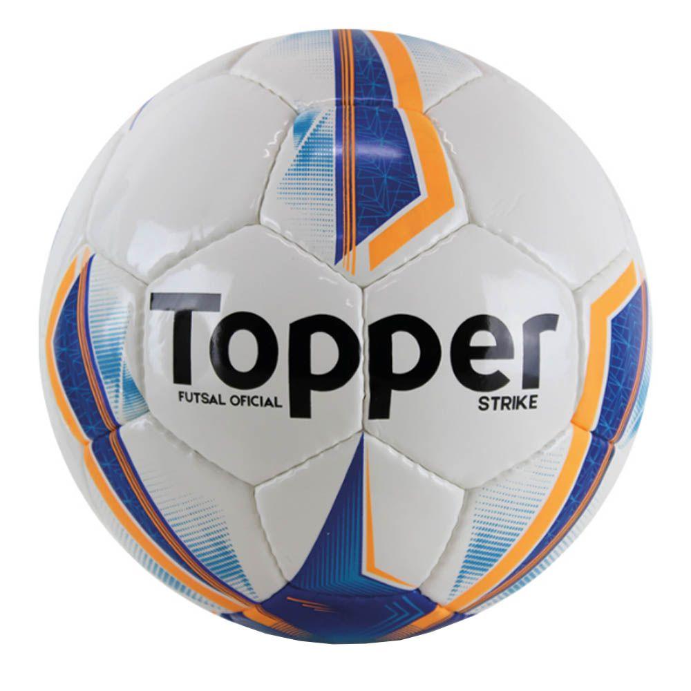 Bola de Futsal Salão Strike IX - 32 Gomos - Branco/Azul/Laranja - Topper