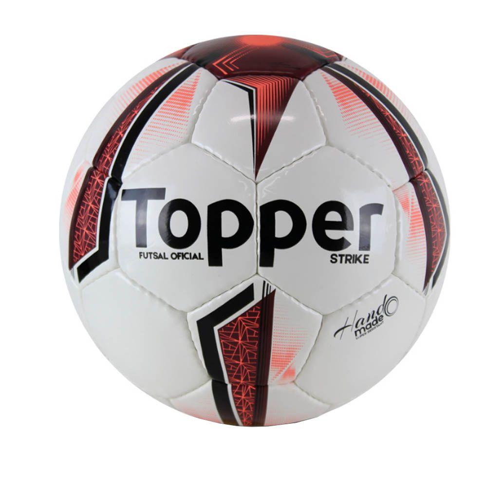 Bola de Futsal Salão Strike IX - 32 Gomos - Branco/Vermelho - Topper  - Loja do Competidor