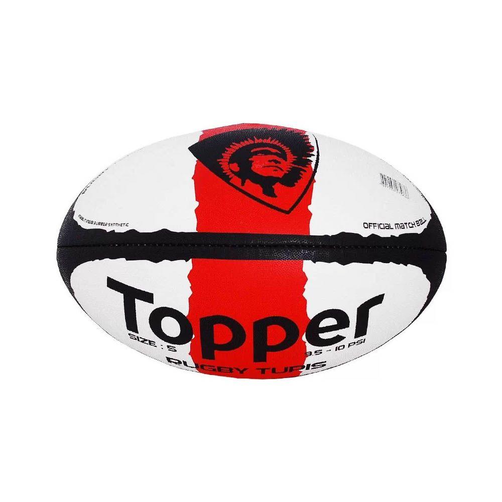 Bola de Rugby - Training - Tupis - Preto/Branco/Verm - Topper  - Loja do Competidor