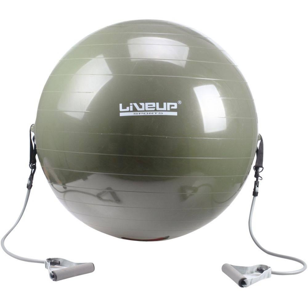 Bola Suiça para Pilates com Extensores Elásticos - 65cm - Liveup