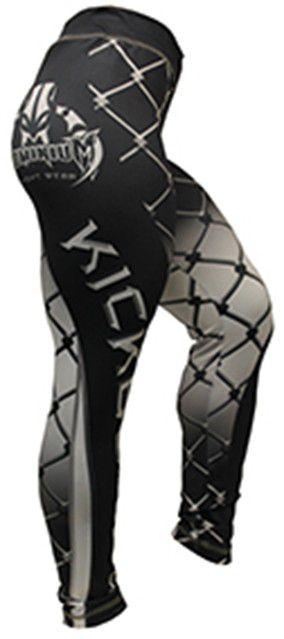 Calça de Compressão Térmica- Feminina - Kickboxing - 2165P- Preto/Branco- Dominium .