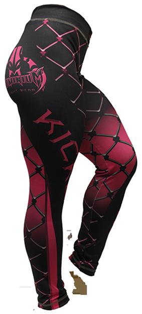 Calça de Compressão Térmica- Feminino - Kickboxing - 2165R- Preto/Rosa - Dominium .  - Loja do Competidor