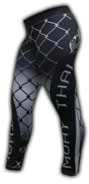 Calça de Compressão Térmica Feminina - Muay Thai - 2463P - Preto/Branco- Dominium .