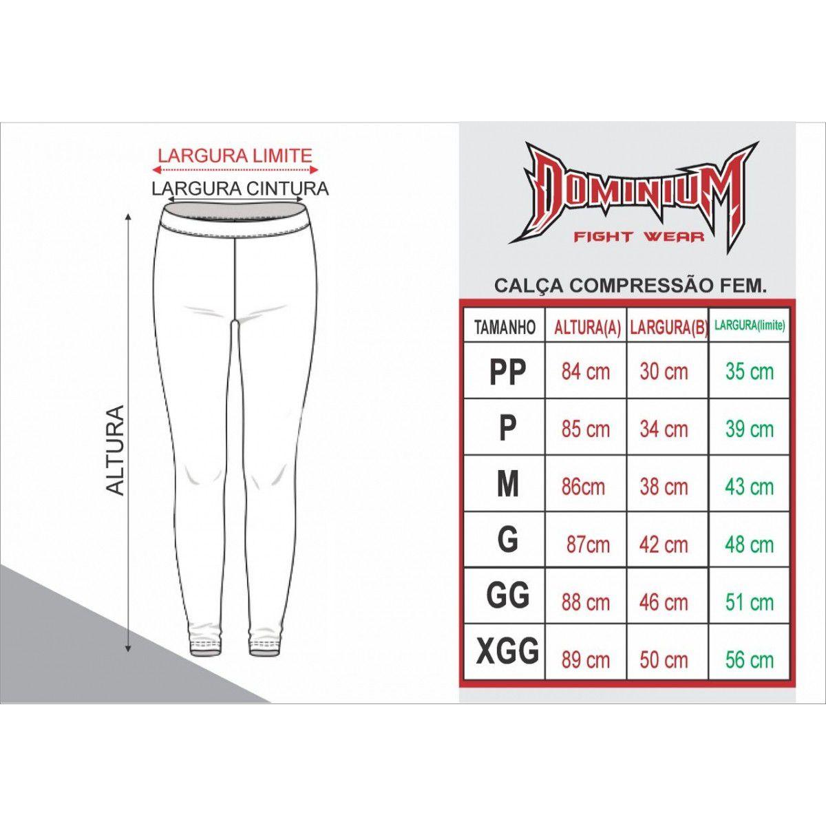 Calça de Compressão Térmica Feminina - Muay Thai - 2463P - Preto/Branco- Dominium .  - Loja do Competidor
