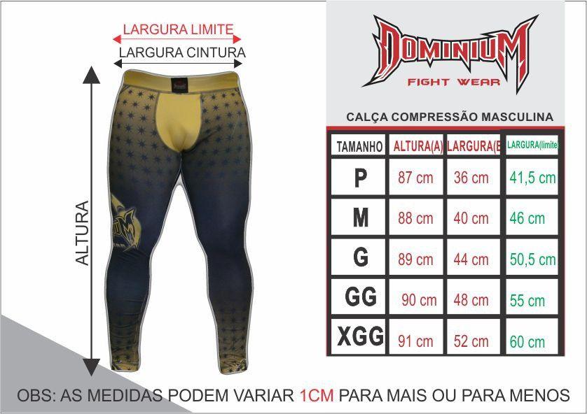Calça de Compressão Térmica - Kickboxing - 2795P - Masculina - P/B - Dominium -  - Loja do Competidor