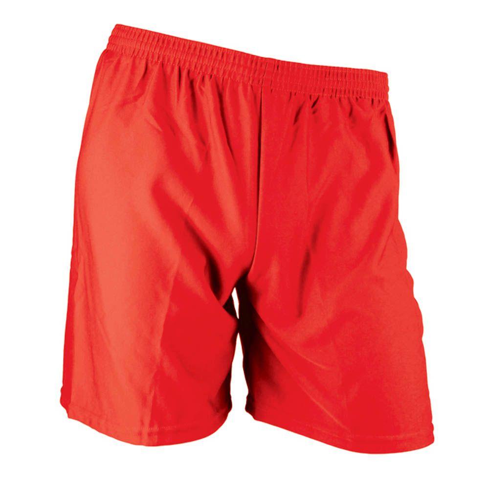 Calção de Futebol Futsal - Liso - Vermelho - Infantil - Kanga