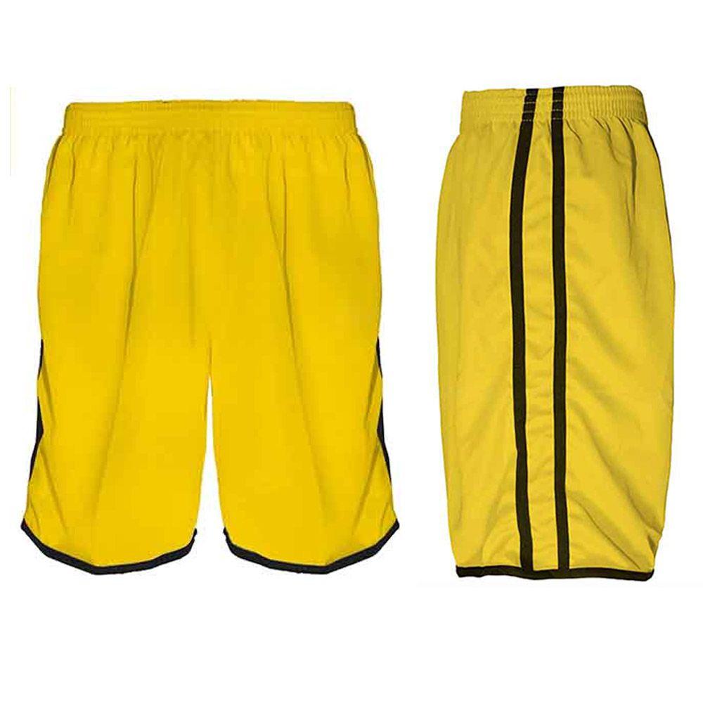 Calção de Futebol Futsal Musculação Lotus - Amarelo/Preto - Adulto - Kanga