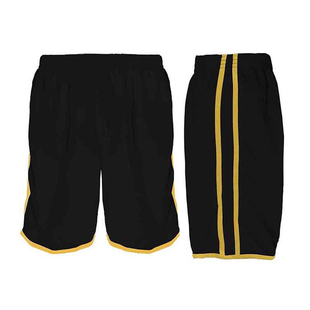 Calção de Futebol / Futsal / Musculação - Lotus- Preto/Amarelo- Adulto - Kanga