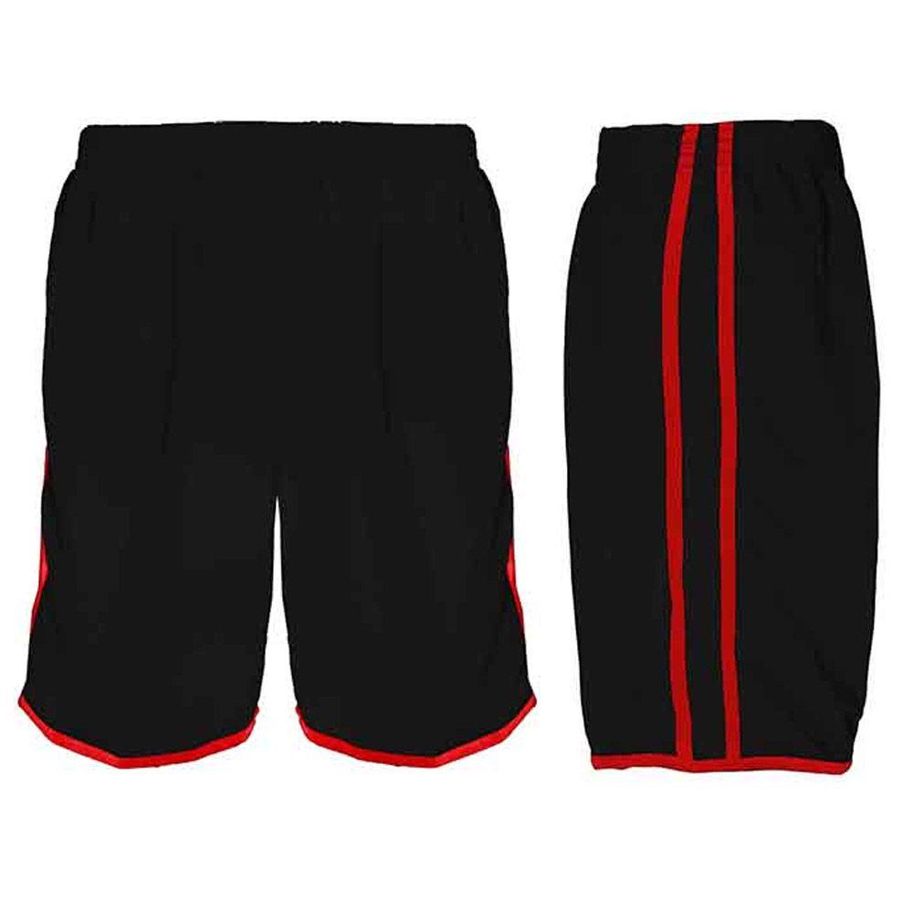 Calção de Futebol / Futsal / Musculação - Lotus- Preto/Vermelho- Adulto - Kanga