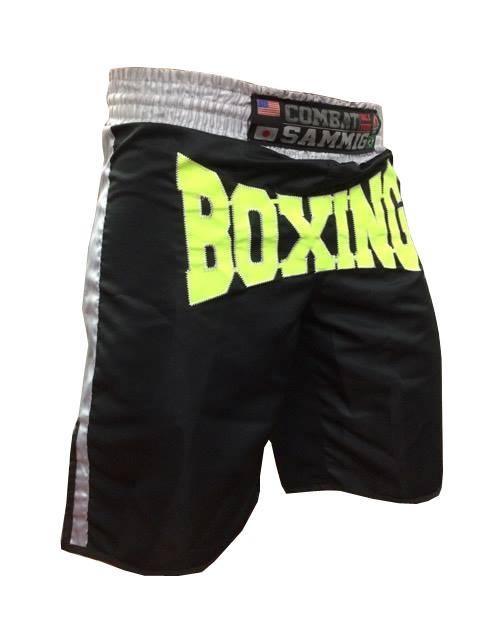 Calção / Short Boxe - Boxing - Quadrado - Preto/Verde Neon - Sammig