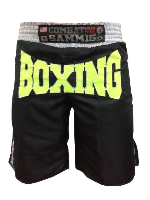 Calção / Short Boxe - Boxing - Quadrado - Preto/Verde Neon - Sammig  - Loja do Competidor