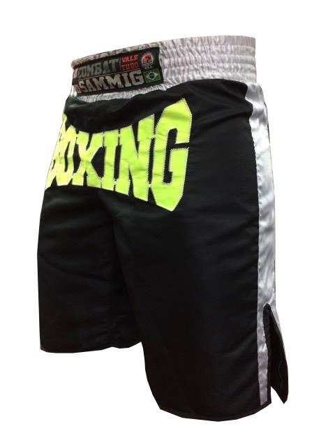 Calção / Short Boxe - Boxing - Quadrado - Preto/Verde Neon - Sammig .  - Loja do Competidor