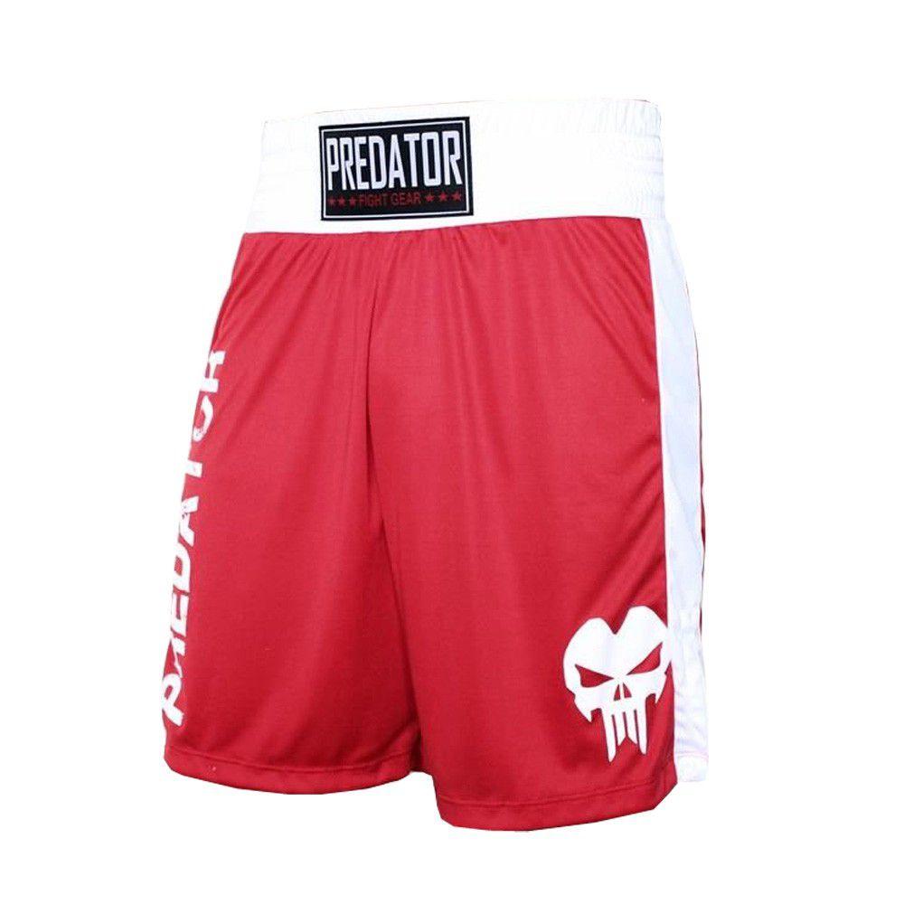 Calção Short Boxe - Boxer -Vermelho/Branco - Predator -