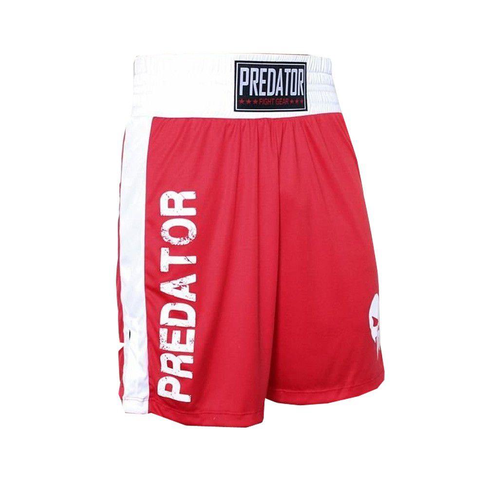 Calção Short Boxe - Boxer -Vermelho/Branco - Predator -  - Loja do Competidor